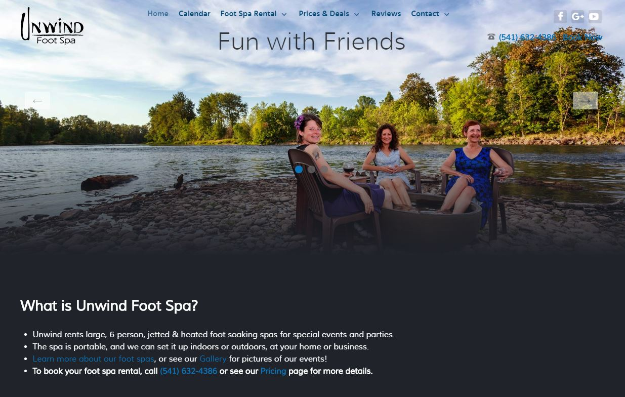 Unwind Foot Spa website